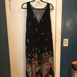Elements black/turquoise/orange maxi dress ax 1X
